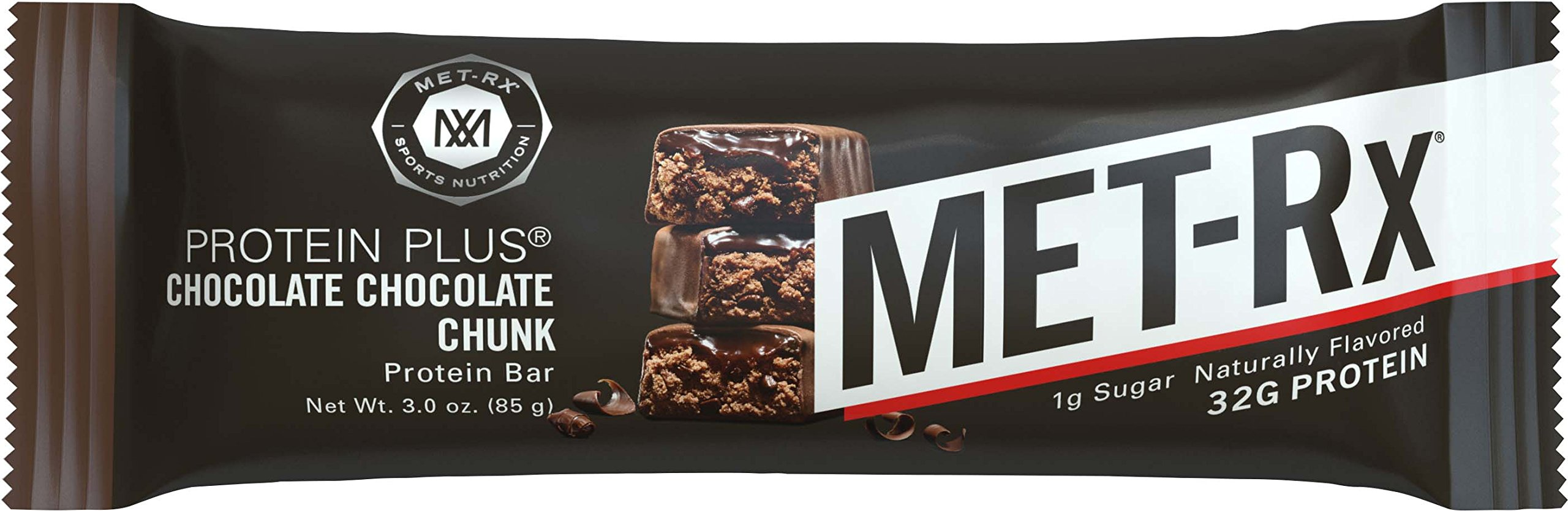 MET-Rx Protein Plus Bar, Great as Healthy Meal Replacement, Snack, and Help Support Energy, Gluten Free, Chocolate Chocolate Chunk, 85 g, 9 Count
