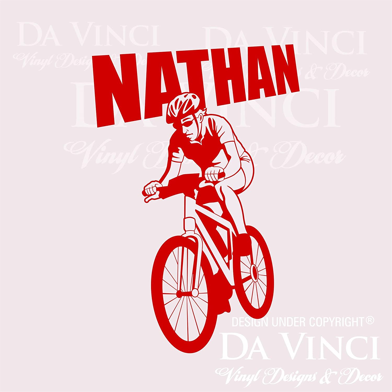 Amazon com bicycling cycling biking wall room custom name vinyl wall decal sticker x large 22 x 32 home kitchen