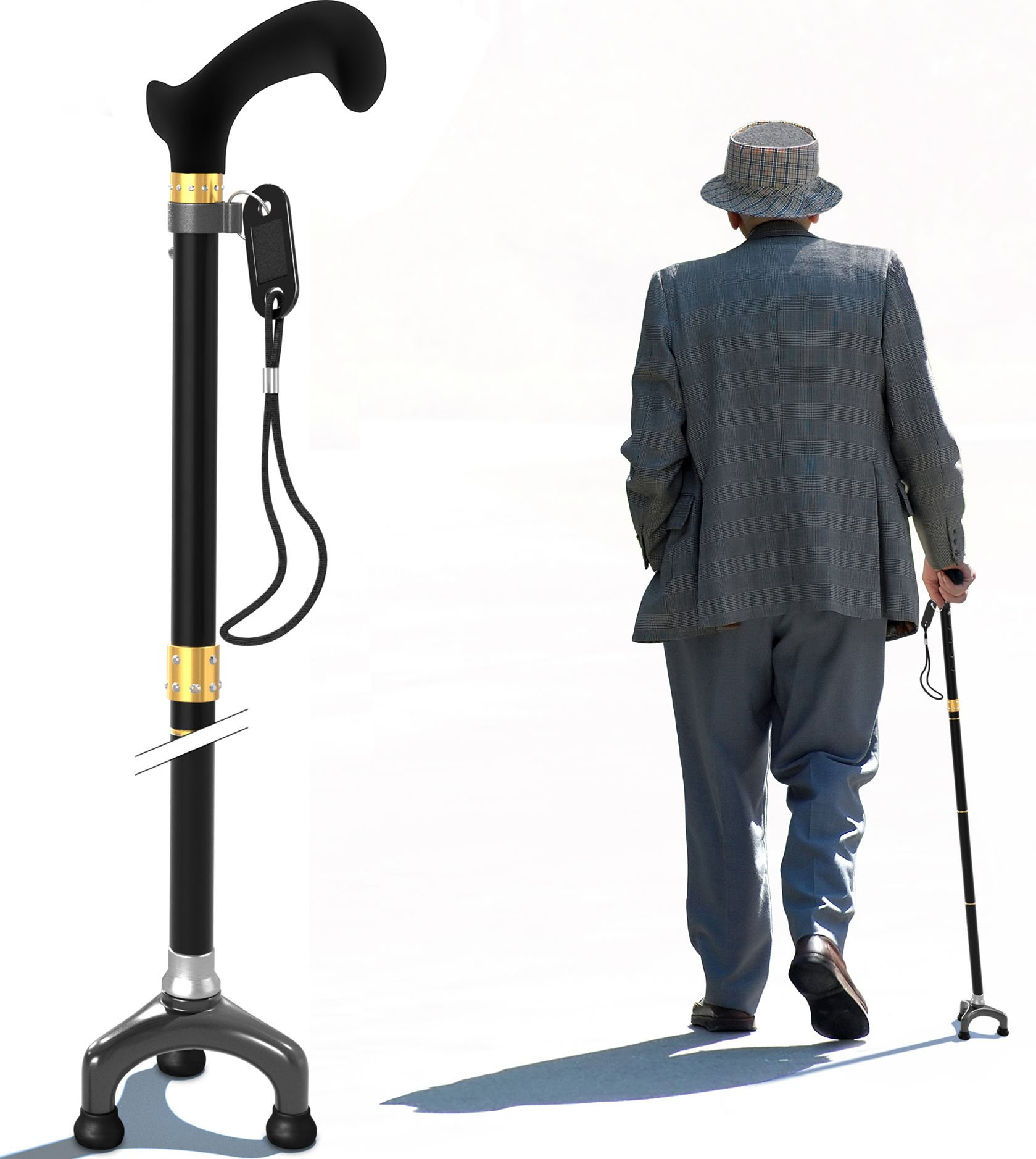 Bago Walking Cane for Men & Women - Folding Stick with Ergonomic Handle and Pivot Tripod Tips - Travel with These Adjustable Canes and Walking Sticks - Pack Small, Lightweight Collapsible (Black)