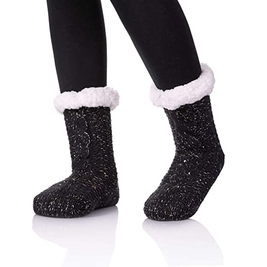 Zayang Womens Sequin Knit Slipper Socks Super Soft Warm Fuzzy
