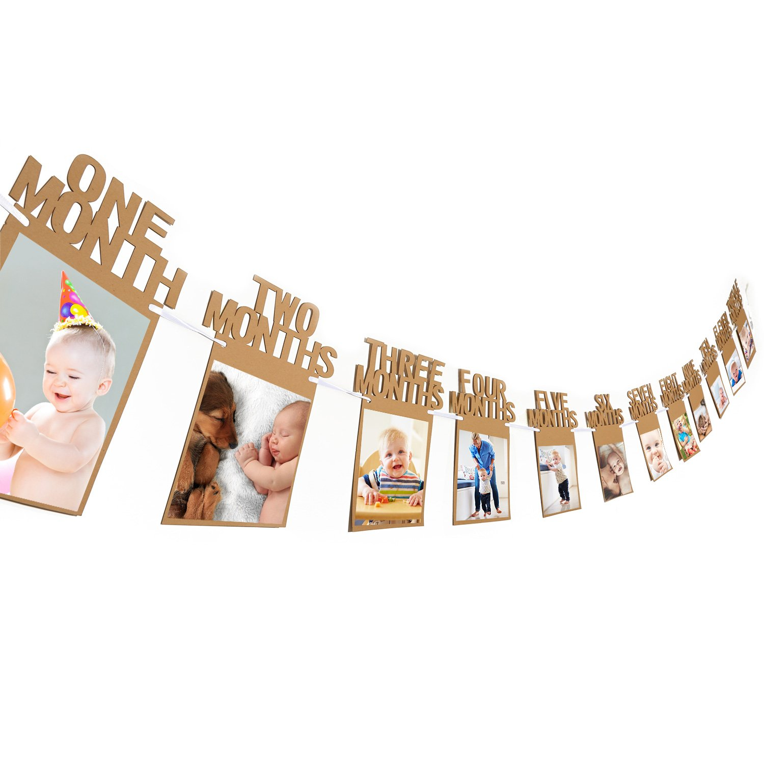 1st Birthday Bunting Garland Baby Photo Banner Baby 1-12 Month Photo Prop Party Bunting Decor Thickened Card Paper (Blue) Bememo