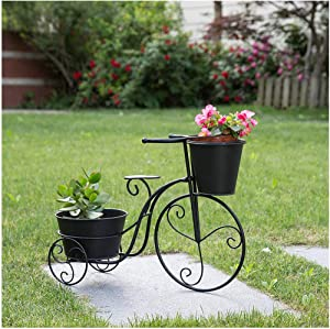 "Glitzhome Metal Standing Planter Hand Painted Flower Holder Fall Home Decor Black, 20.75"" H"
