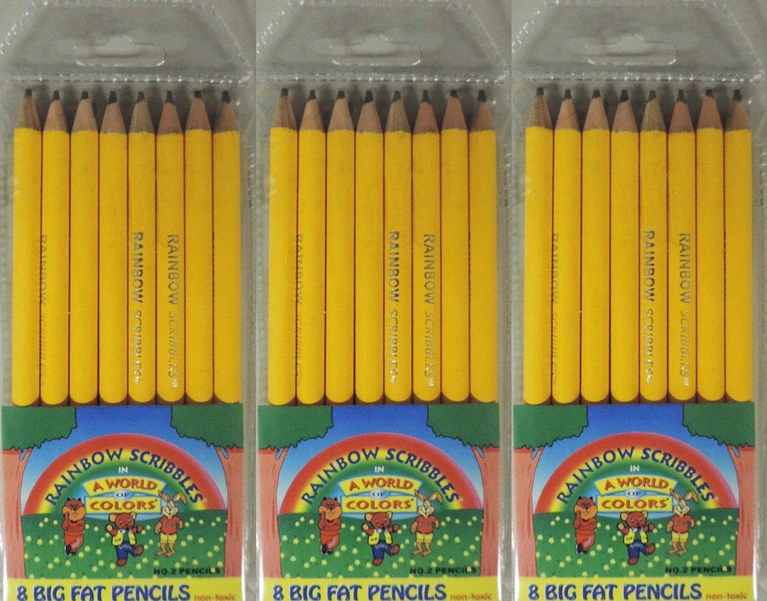 Rainbow Scribblers 24 pack of Beginner Big Pencils for kids, preschoolers, kindergarten, toddlers