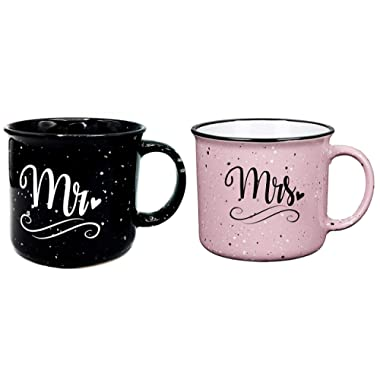 Mr and Mrs Couples Camping Ceramic Coffee Mug Set 15oz - Unique Wedding Gift For Bride and Groom - His and Hers Anniversary Present Husband and Wife - Engagement Gifts For Him and Her (Mr & Mrs Only)