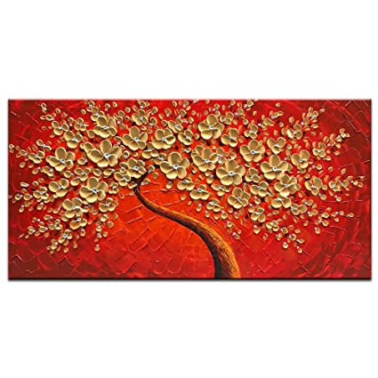Okbonn 100% Hand Painted 3D Oil Painting On Canvas Gold And Red Flowers Wall