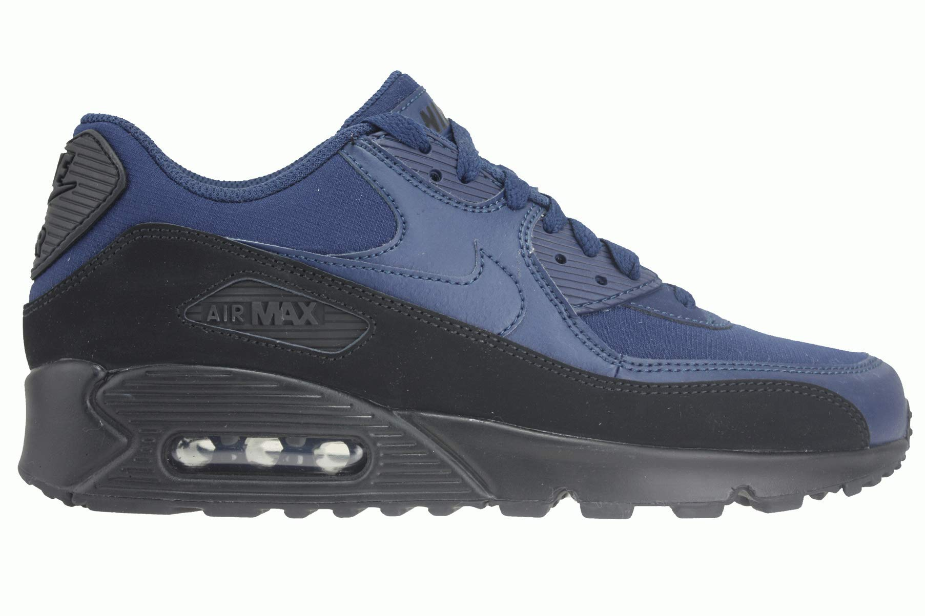 the best attitude f5a5c 4b610 Galleon - NIKE Mens Air Max 90 Essential Running Shoes Black Midnight Navy  AJ1285-007 Size 10.5
