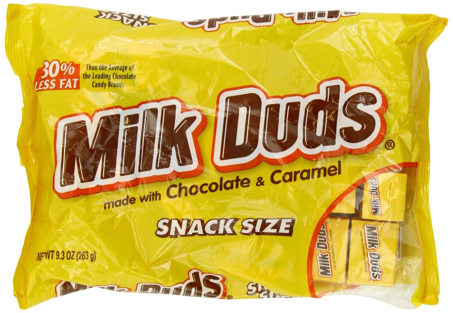 Milk Duds Snack Size Boxes, Milk Chocolate Covered Caramels, 9.3-ounce Bags (Pack of 4) by Milk Duds