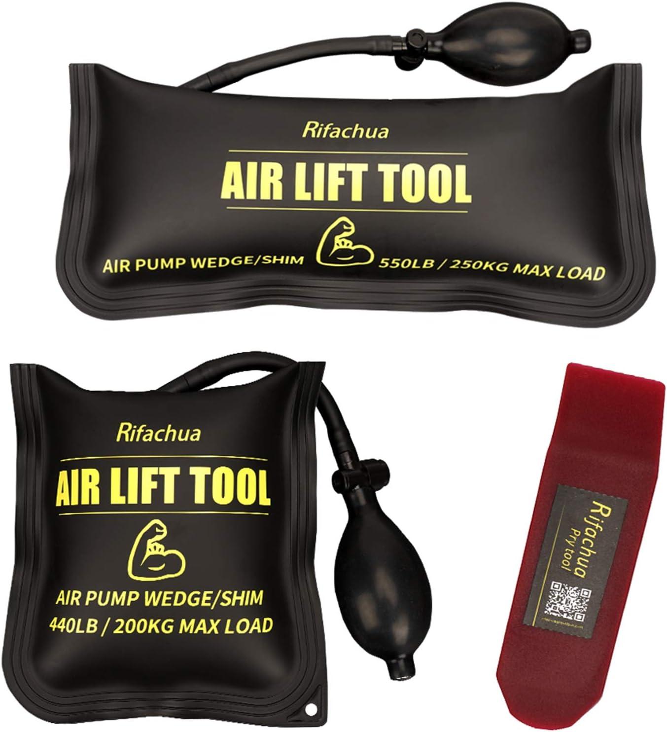 Rifachua Air Shim Air Wedge Bag 3 pcs Inflatable Air Bag Pump Wedge Kit Leveling Alignment Tool 550 LB and 440 LB Rating