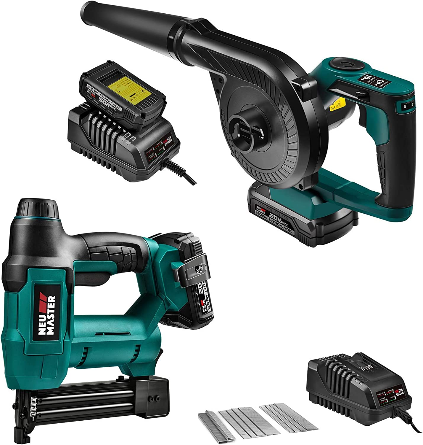 Cordless Brad Nailer (2.0Ah Battery and Charger Included) and Cordless Jobsite Blower Vacuum with Variable Speed, 20V MAX 2.0Ah Battery Included