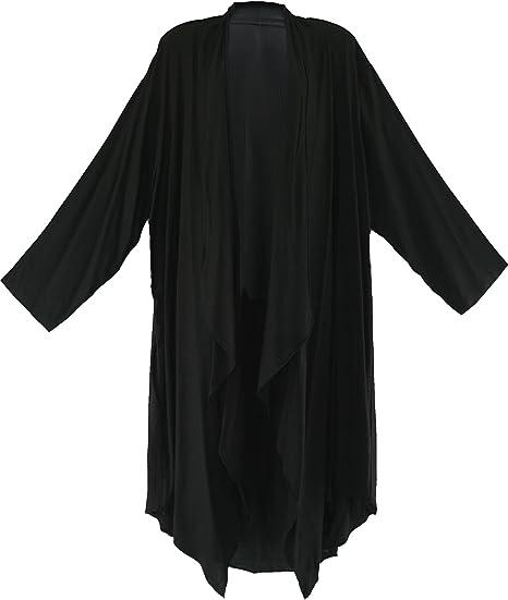 BeautyBatik White Women Long Sleeve Plus Size Cardigan Cover up Duster Jacket