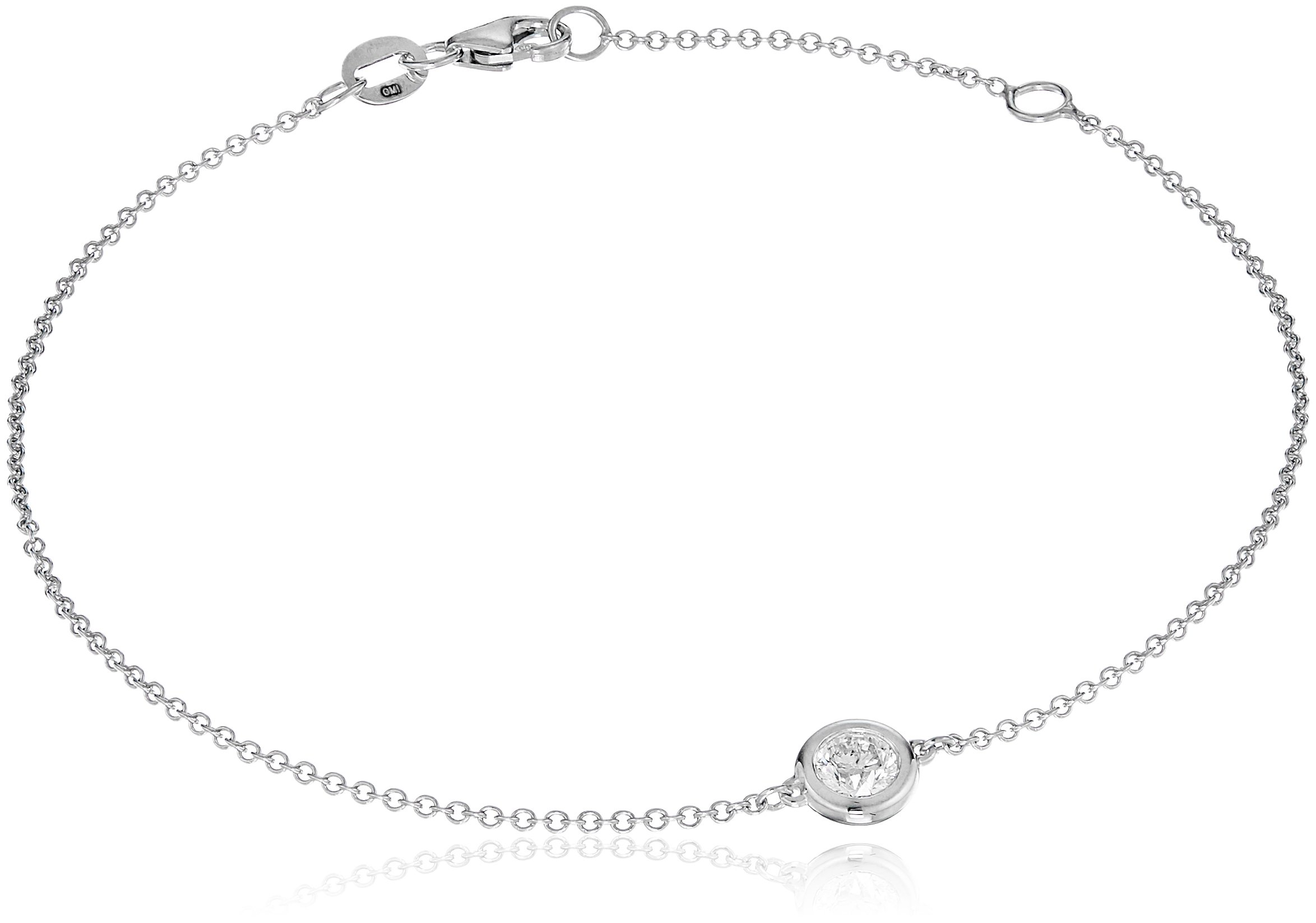 14k White Gold Solitaire Bezel Set Diamond with Lobster Clasp Strand Bracelet (1/4cttw, J-K Color, I2-I3 Clarity)