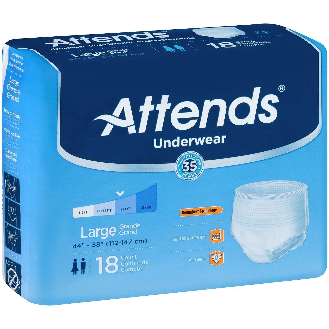 *Attends Underwear Extra Absorbency Large - Case of 72 - Model AP0730