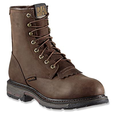 Men's Ariat Workhog Wide Square Toe H2O Composite Toe Boot, Size: 13 D, Oily Distressed Brown Full Grain Leather