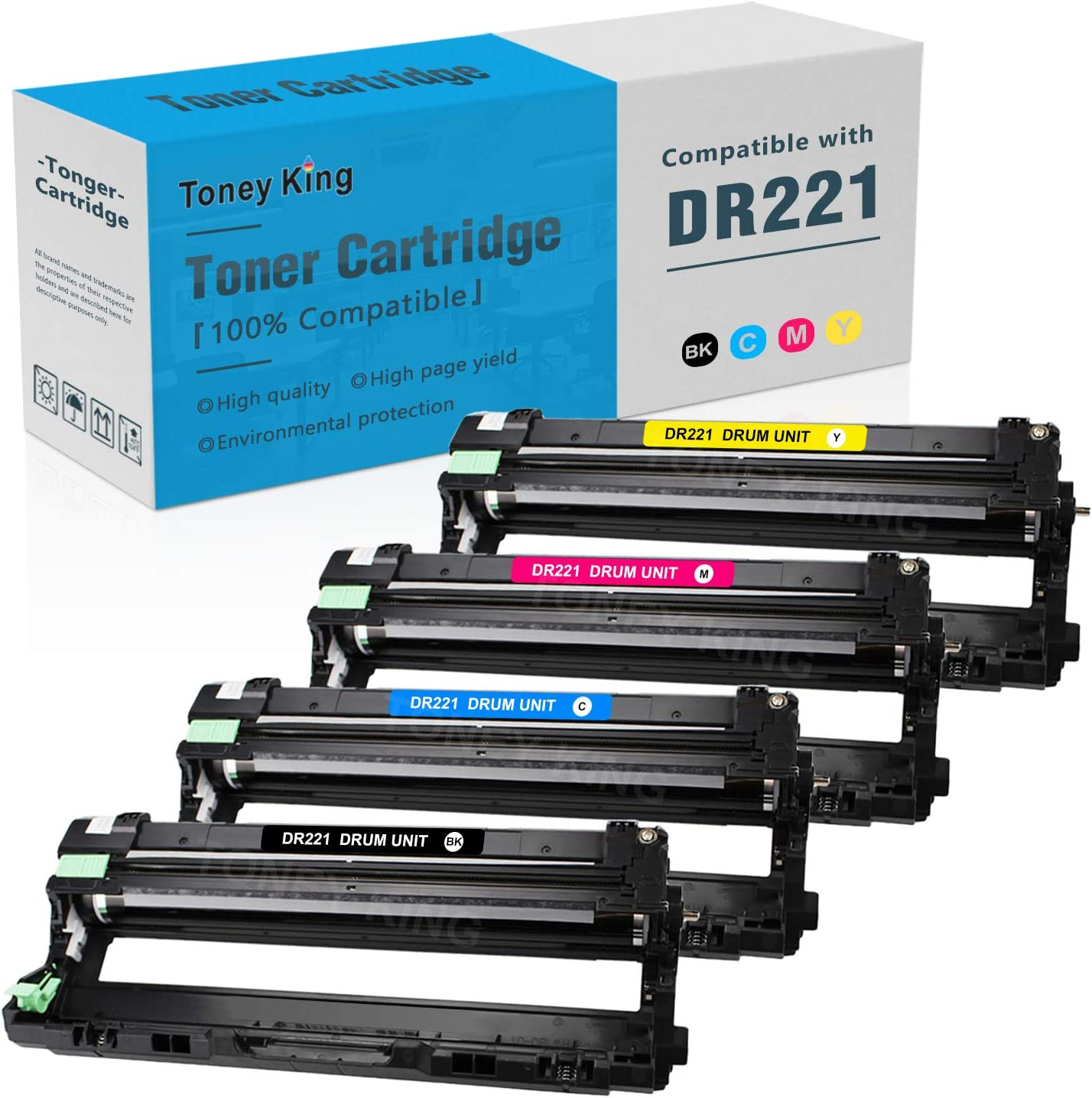 DR221 CL DR221-CL Drum Unit Set Compatible for Brother TN221 TN225 Toner Cartridge Replacement for Brother HL-3140CW HL-3170CDW MFC-9130CW MFC-9330CDW MFC-9340CDW Printer (15,000 Pages) by Toney King