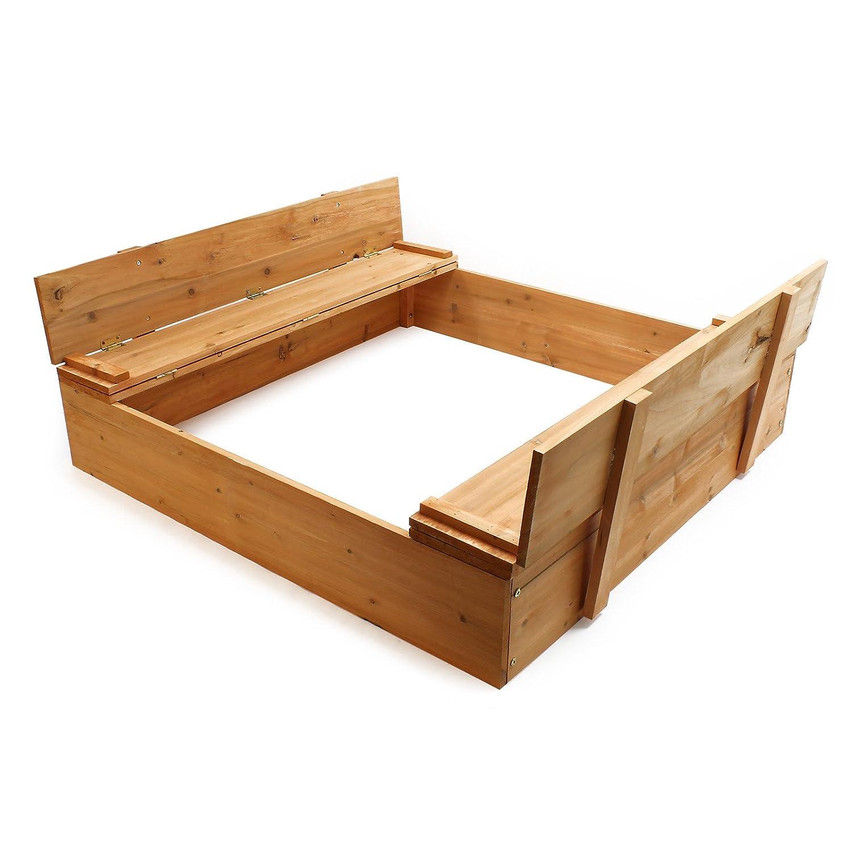 arenero con tapa abatible arenero banco arenero asiento arenero madera: Amazon.es: Jardín