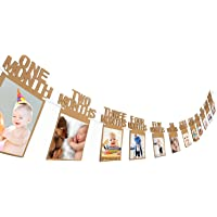 Party Propz Thickened Kraft Card Paper 1st Birthday Bunting Baby Photo Prop Banner, 1-12 Months