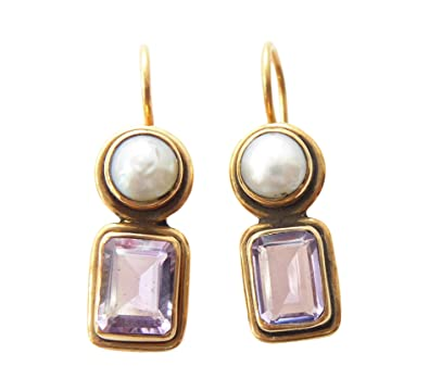 94de748d5 Square Amethist Earrings Amethyst Purple Genuine Pearl Earrings Hook  Lockable Silver Gold Handmade Unique Florence Made in Italy: Amazon.co.uk:  Jewellery
