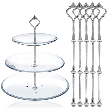 3 Tier Cake Stand (5 SETS) Cake Plate Display Holder Handle Fittings Silver Metal  sc 1 st  Amazon UK & 3 Tier Cake Stand (5 SETS) Cake Plate Display Holder Handle Fittings ...