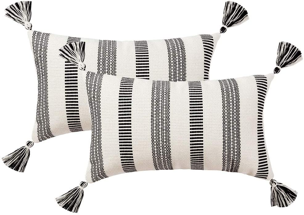 blue page Set of 2 Cotton Woven Lumbar Throw Pillow Covers, Black White Stripe Neutral Pillow Cases, Small Decorative Cushion Cover (12x20 Inches, 2 Pack)