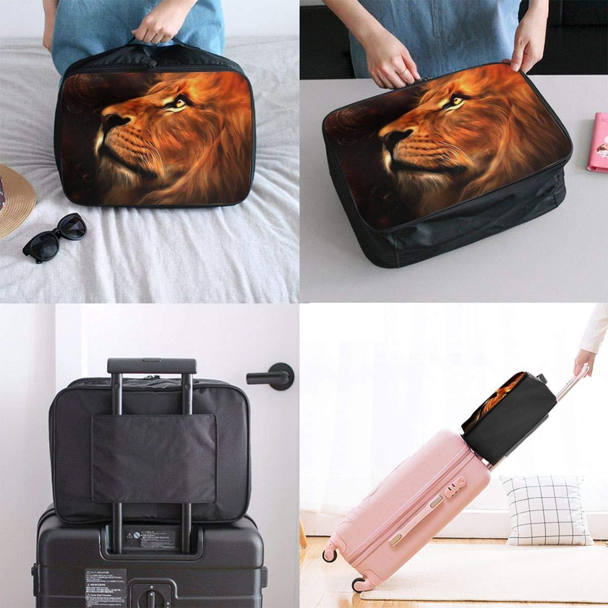 Travel Luggage Duffle Bag Lightweight Portable Handbag Fire Lion Print Large Capacity Waterproof Foldable Storage Tote