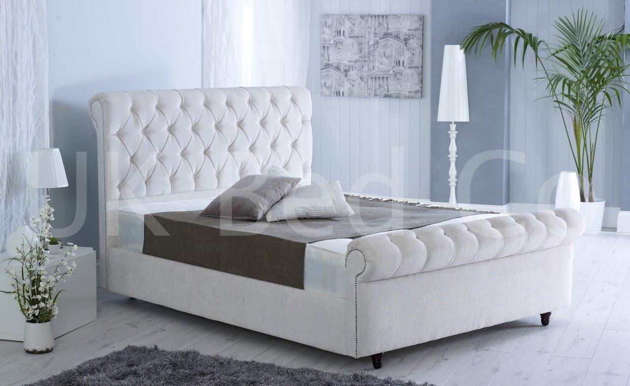 Deluxe Stil Schlitten Crushed Velvet Designer Bett gepolsterten ...