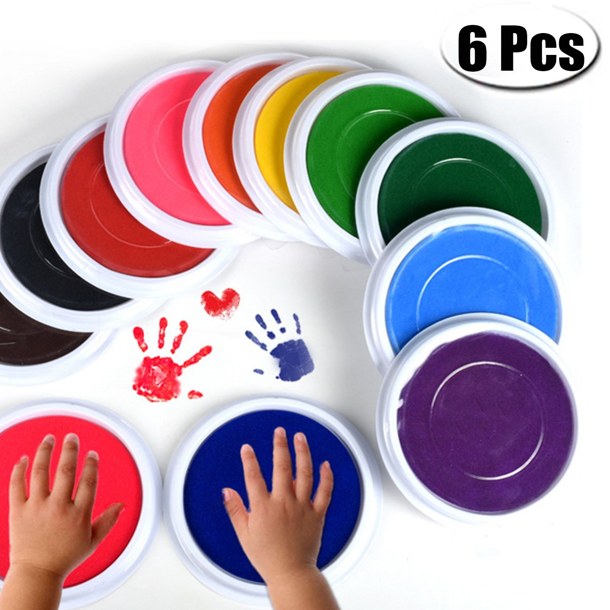 PartyYeah 6-Pcs Multicolors Baby Ink Pad for Baby Footprints Handprints Fingerprints Kit, Perfect Keep Baby Memory Baby Shower Gift Party Yeah