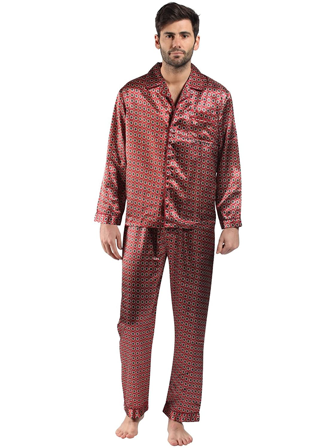 Mens/Gentlemens Nightwear/Sleepwear Satin Printed Long Sleeve Pyjama Suit Set, Various Colours & Sizes Harvey James 9724/9725