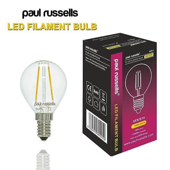 3 x estilo Vintage pequeño tornillo de Edison LED filamento transparente bombillas 2 W envejecido golf luz decorar casa G45 pequeño y redondo globo 360 ...