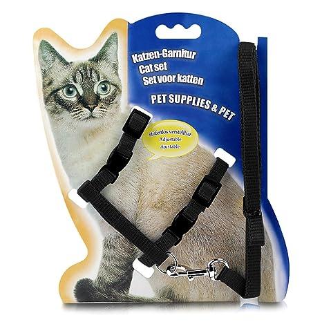 Amazon.com: KAOSITONG Arnés de gato, arnés ajustable correa ...