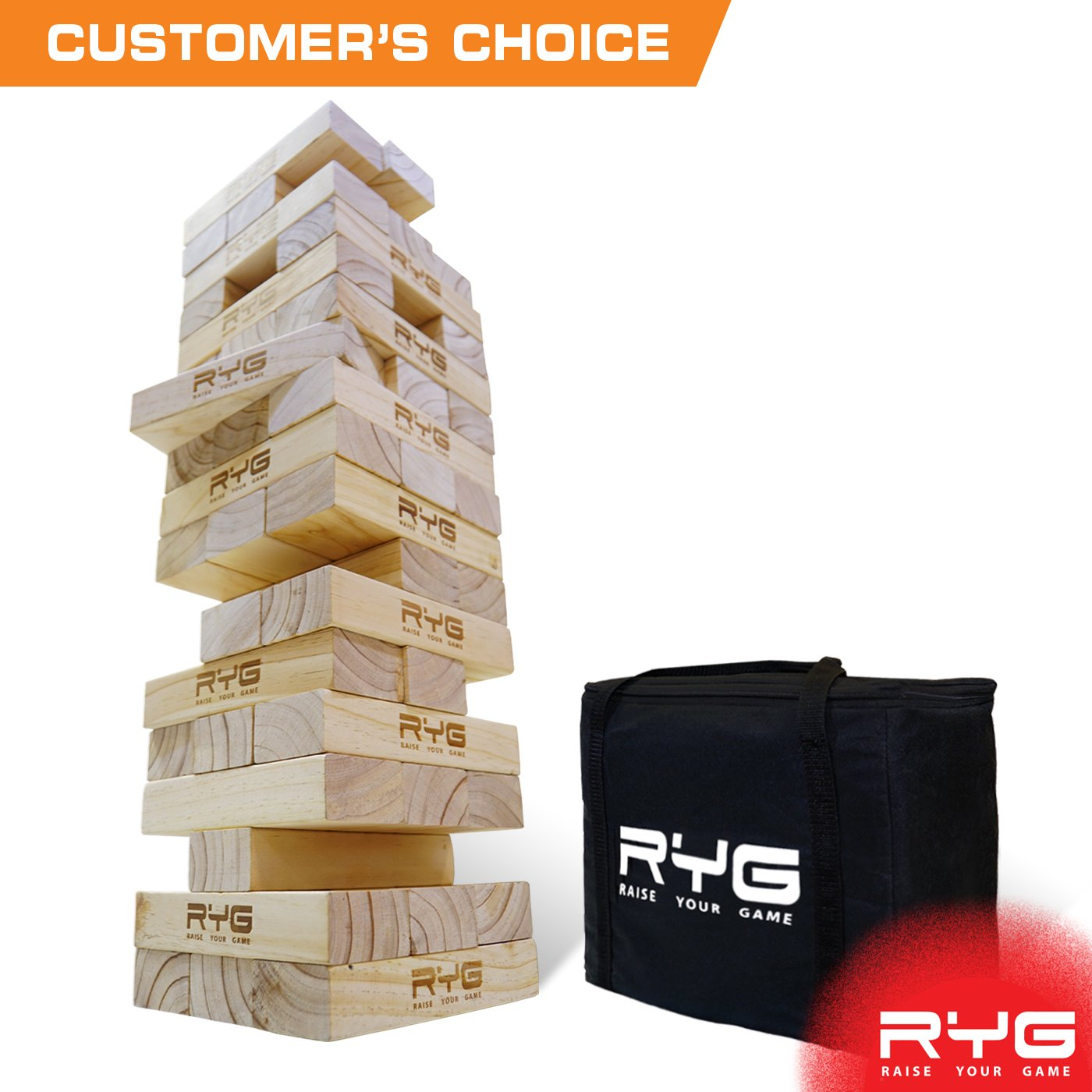 RYG Giant Wooden Toppling Tower, Large Tumbling Timbers, Wood Stacking Game Set with Carrying Case, Stacks to 5+ Feet, for Yard Games