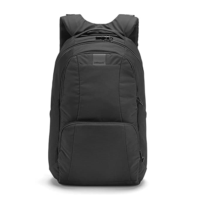 "Pacsafe Metrosafe LS450 25 Liter Anti Theft Laptop Backpack - with Padded 15"" Laptop Sleeve, Adjustable Shoulder Straps, Patented Security Technology (Black)"