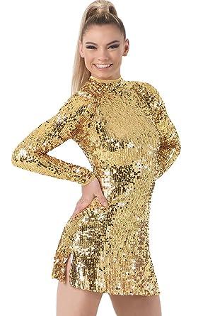 3c9fb265f Amazon.com: Balera Dance Dress Ultra Sparkle Long Sleeve Mock Neck with  Keyhole Back and Built-in Biketard: Clothing