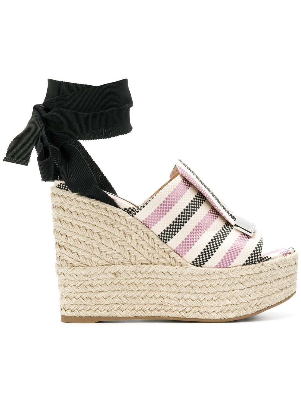 Sergio Rossi Women's A80210mfn2725058 Black/Pink Cotton Wedges