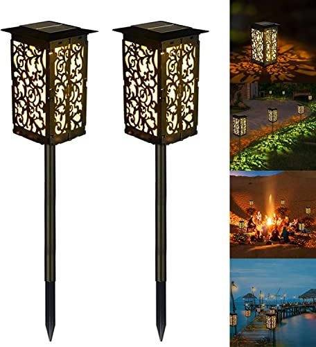 XZN Solar Pathway Lights Outdoor Floral Pattern Detachable Lampshade 3000K Cozy Warm Light 2200mAh Waterproof IP65 Landscape Decoration Solar Lamps for Garden, Patio, Yard, Pathway 2 Pack