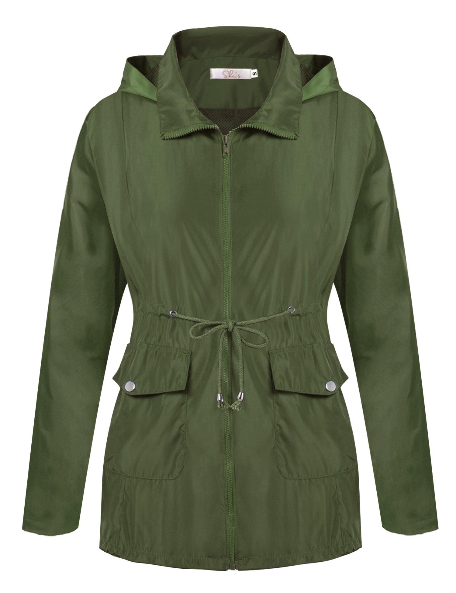 A Blues Man Womens Lightweight Lining Hooded Waterproof Outdoor Zipper Rain Jacket (M, Army Green-X)