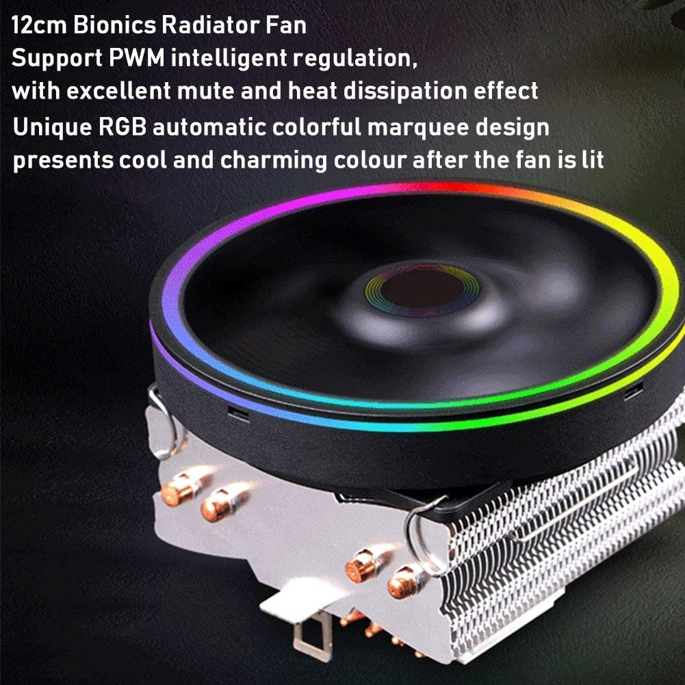 Heayzoki PC-L/üfter Vier Reine Kupfer-Heatpipes-CPU-K/ühler CPU-K/ühler K/ühler buntes RGB 4PIN 12 cm 800-1800 U//min CPU-K/ühlsystem