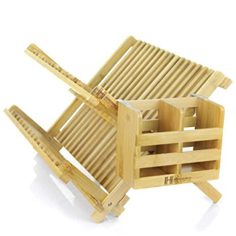 Bamboo Dish Drying Rack.Bamboo Dish Drying Rack Foldable And Collapsible Eco Friendly Plate Dryer With Detachable Utensil Holder