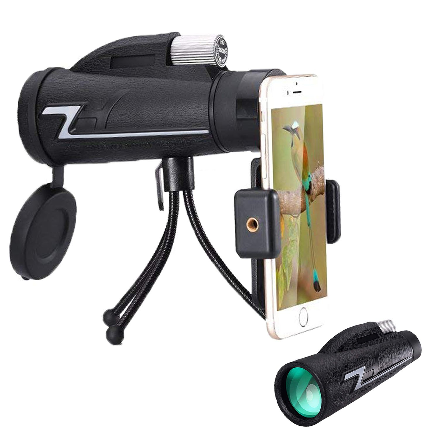 Ciysty 16X50 High Power Prism Monocular and Quick Smartphone Holder -Daily Splash and Shockproof -BAK4 Prism FMC for Bird Watching Hunting Camping Travelling Wildlife by Ciysty