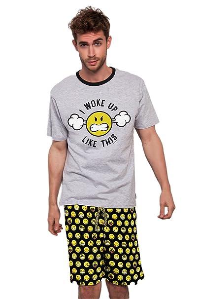 Smiley - Pijama Corto Para Hombre, Color Gris Jaspe, Talla Xxl