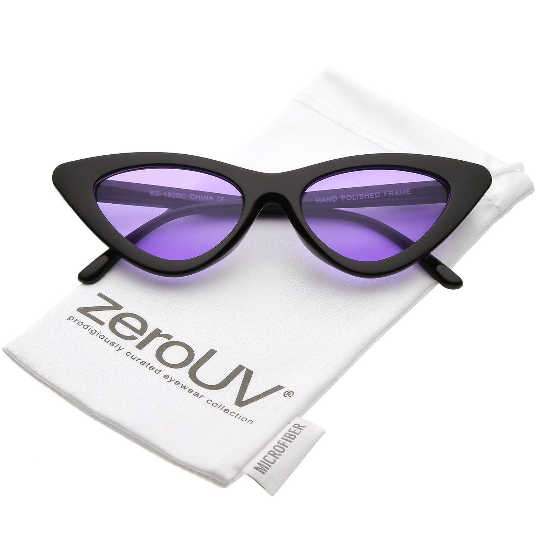 240e4725685a3 Amazon.com  zeroUV - Womens Exaggerated Slim Black Frame Color Tinted Lens Cat  Eye Sunglasses 48mm (Black Purple)  Clothing