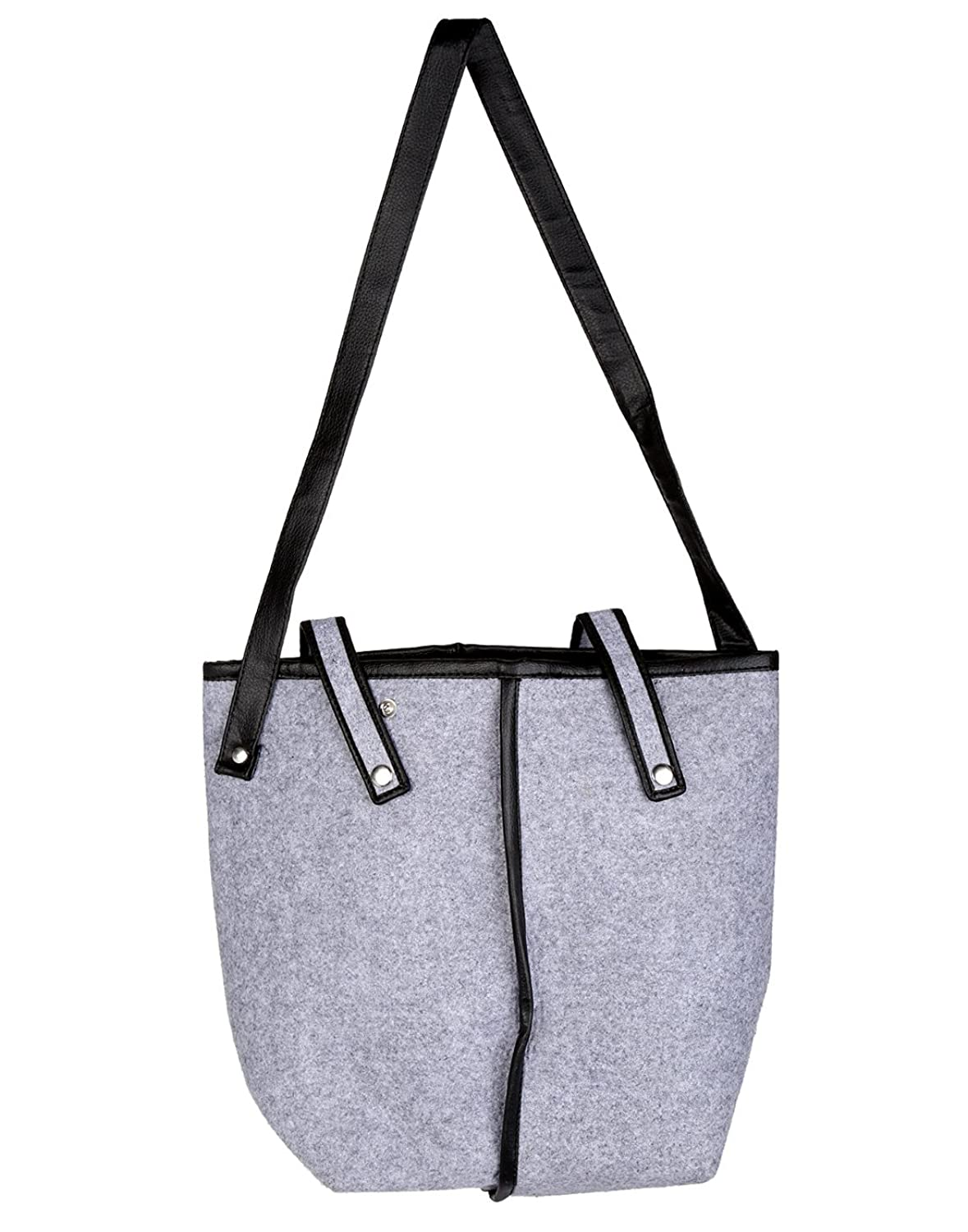 Attractive Felt & Faux Leather Gray Tote Bag Solid Dyed For Women By Rajrang