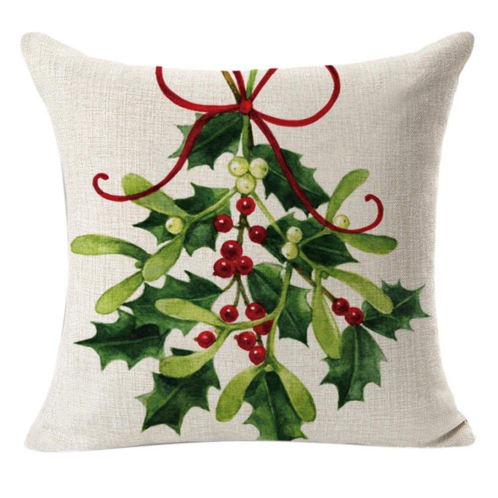 HOT ! YANG-YI Christmas Linen Square Throw Flax Pillow Case Decorative Cushion Pillow Cover # 2 (45cm45cm, A)