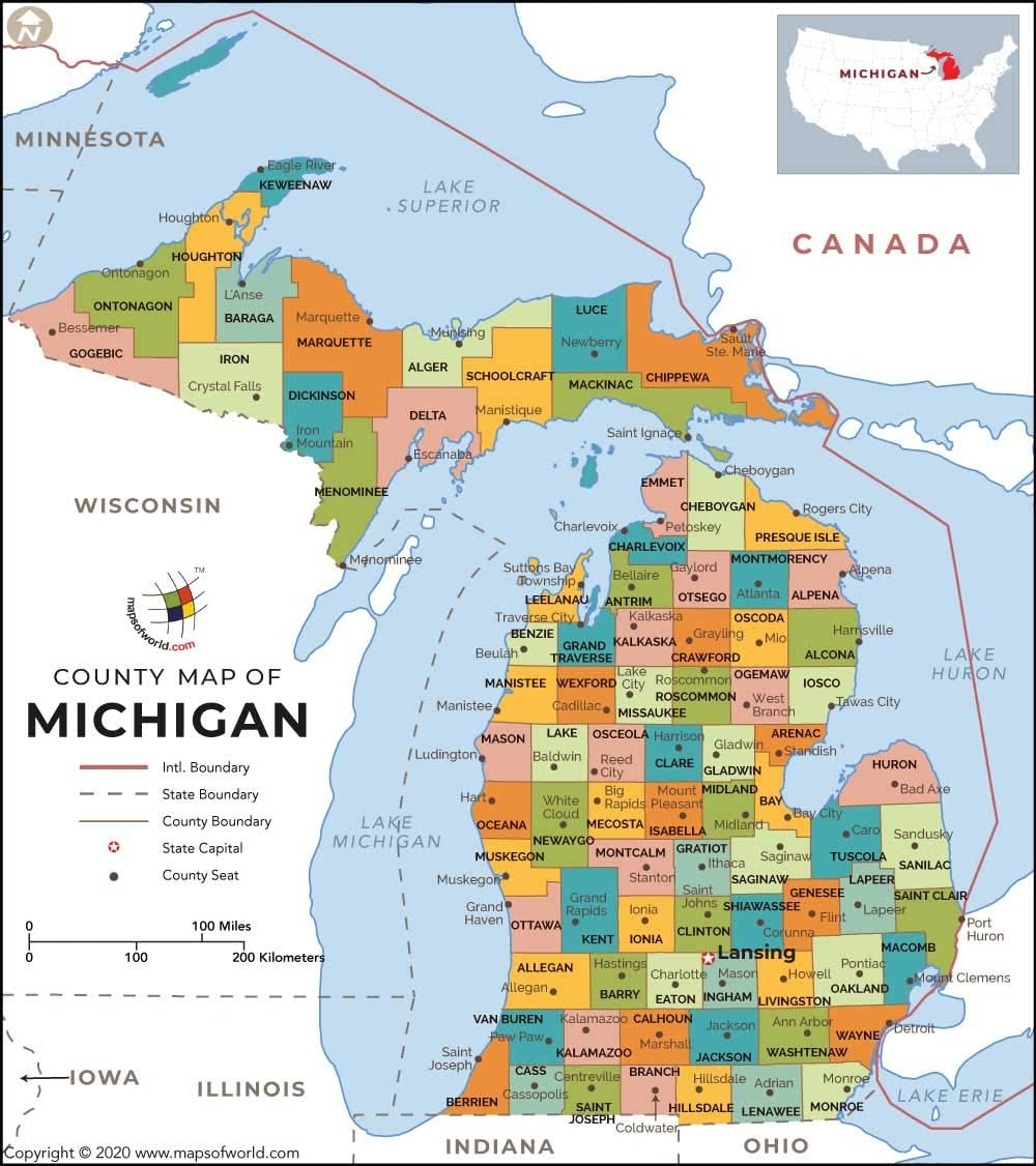 Michigan Map By County Amazon.: Michigan County Map   Laminated (36