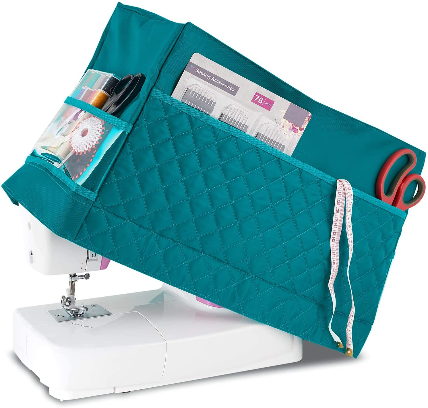 Protective Dust Cover with Pockets for Sewing Machine Clear Plastic