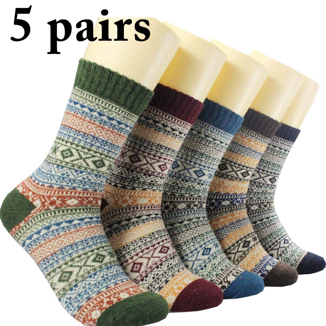 Zoylink 5 Pairs Mens Vintage Socks Winter Warm Socks Breathable High Ankle Socks