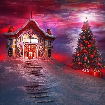 Amazon 10x10フィート レッド ライト付き クリスマスツリー 写真撮影用