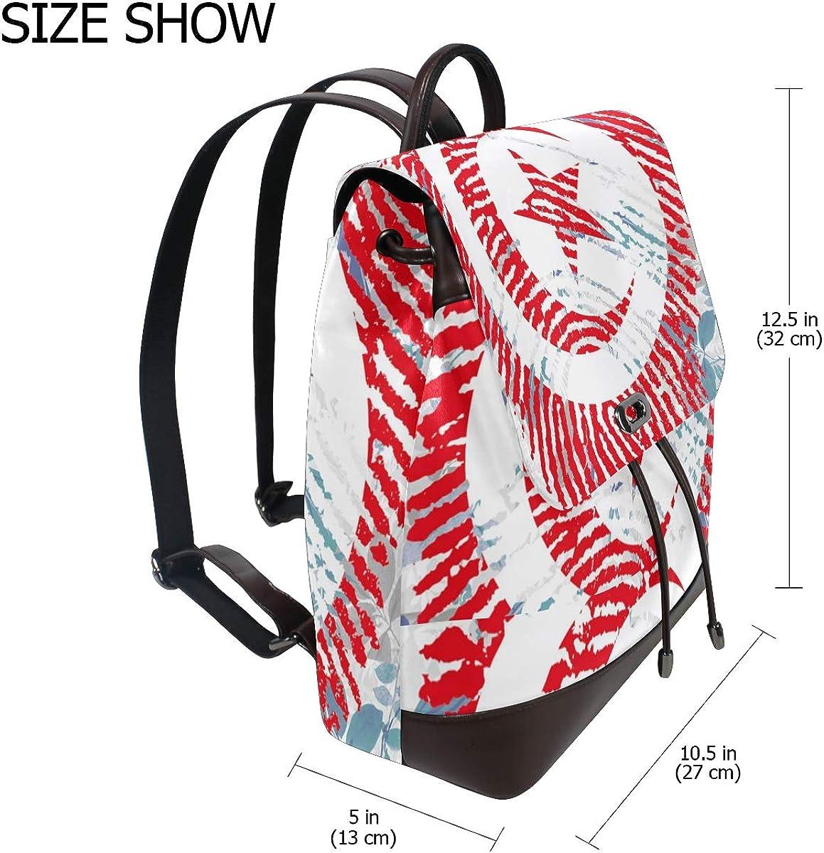 PU Leather Shoulder Bag,Fingerprint Tunisia Flag Backpack,Portable Travel School Rucksack,Satchel with Top Handle