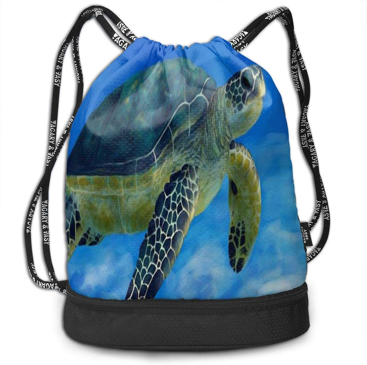 Unisex Bundle Backpack Sea Turtle Fly In The Sky Travel Durable Large Space Cool Waterproof Drawstring Bag