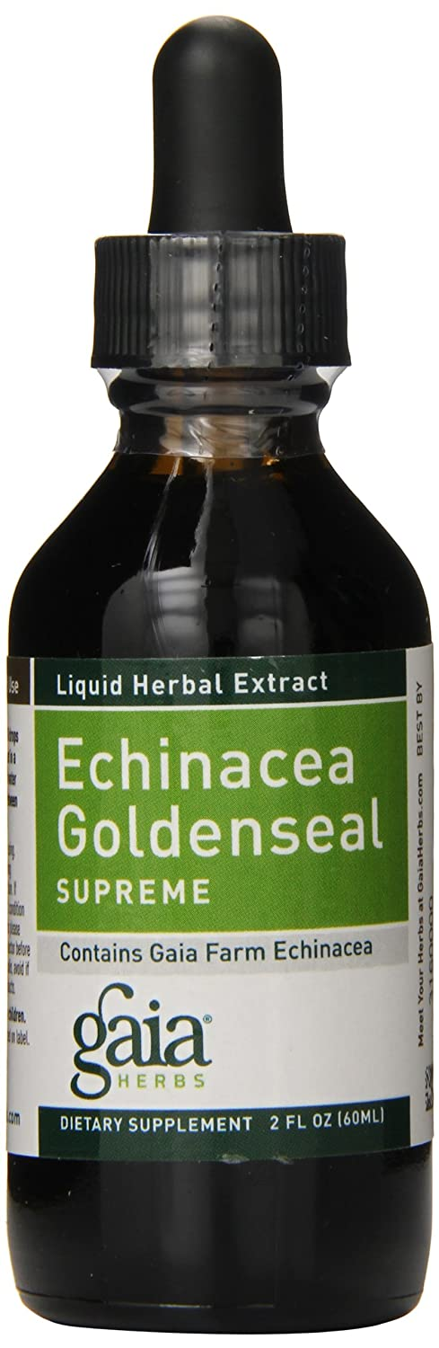 Gaia Herbs Echinacea Goldenseal Supreme, Liquid Supplement, 2 Ounce – Immune Support Healthy Inflammatory Response During Seasonal Stress, Organic Echinacea
