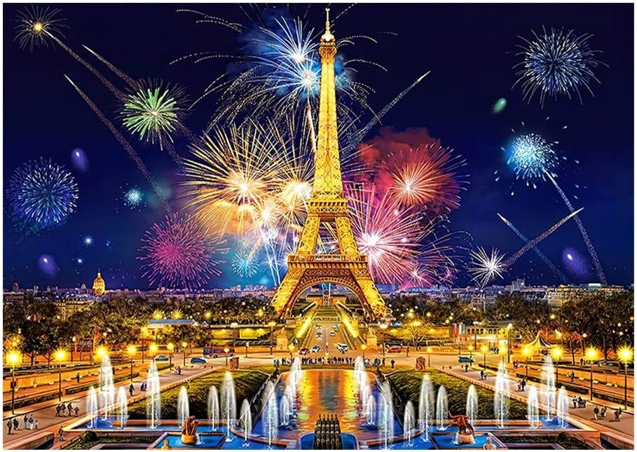 JCCOZ-URG Rompecabezas niños 300/500/1000 Piezas de la Torre Eiffel de los Fuegos Artificiales Adultos de Madera clásico del Rompecabezas Juegos de Creative Puzzles Juguete Arte Rompecabezas URG
